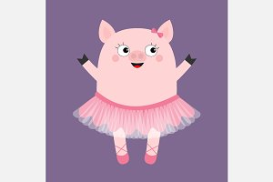 Pig bellerina. Piggy piglet dancer
