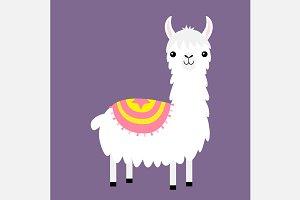 Llama alpaca. Cute cartoon character