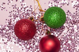 Pink confetti, christmas balls