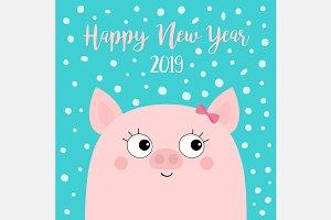 Happy New Year 2019. Pig girl