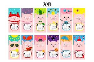 Pig vertical monthly calendar 2019.