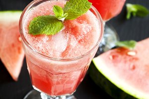 Watermelon smoothies in glass cup.