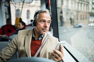 Mature tired businessman with