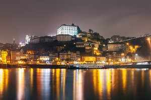 Panorama of night Porto cityscape