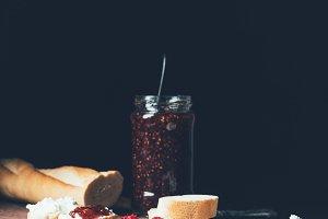 cream cheese in plate, raspberries,