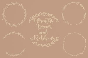 Wreath, Arrows & Ribbons