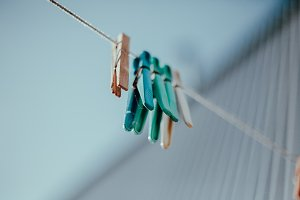 Clothes pegs on the rope