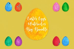 Easter Eggs Watercolor Big Bundle