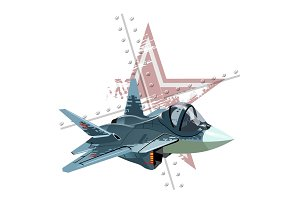 Cartoon modern military fighter