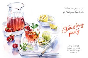 Strawberry Party Drink. Watercolor