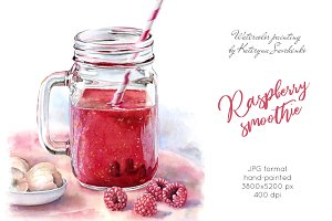 Raspberry Smoothie. Watercolor drink