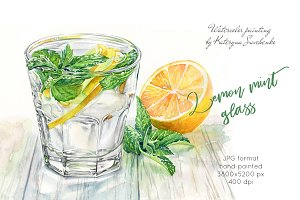 Lemon Mint Glass. Watercolor drink