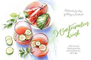 Watermelon Drink. Watercolor food