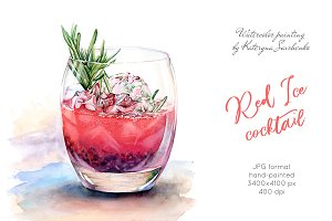 Red Ice Cocktail. Watercolor drink