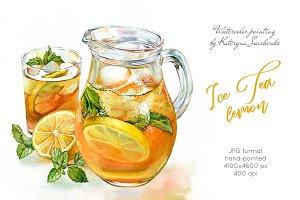 Ice Tea Lemon. Watercolor drink