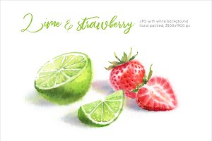 Lime & Strawberry Watercolor paintig