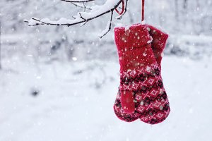 Christmas decoration with red mitten