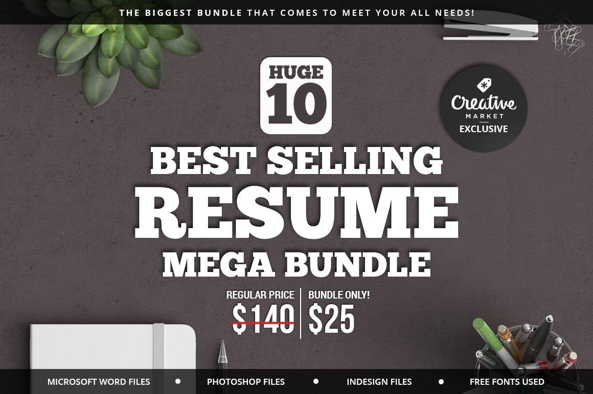 10 Best Selling Resume Mega Bundle ~ Resume Templates ~ Creative Market