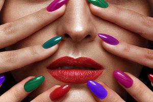 girl with multi-colored nails.