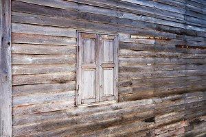 Rural wood wall and window.