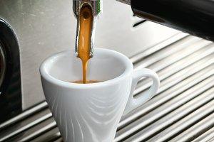 Espresso machine making a cup of cof