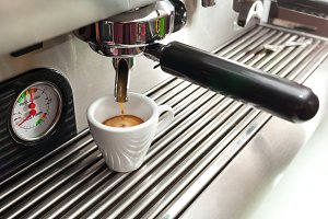Espresso machine making a cup of cof