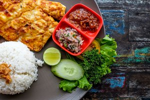 Thai Food Fried fish with rice