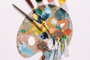top view of palette with colorful pa