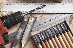 Various tools for carpentry