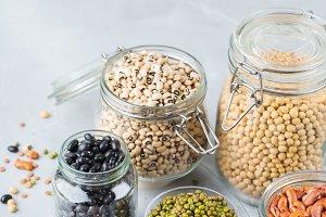 Assortment of vegan protein source f