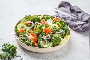 Salted salmon (trout) and Kale salad