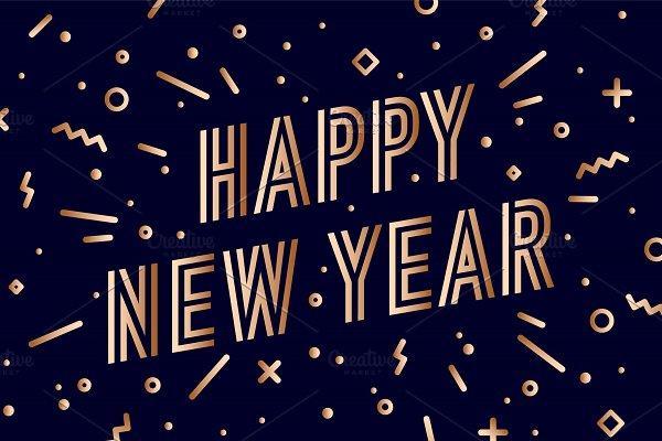 Happy New Year. Greeting card Happy