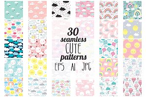30 cute seamless pattern