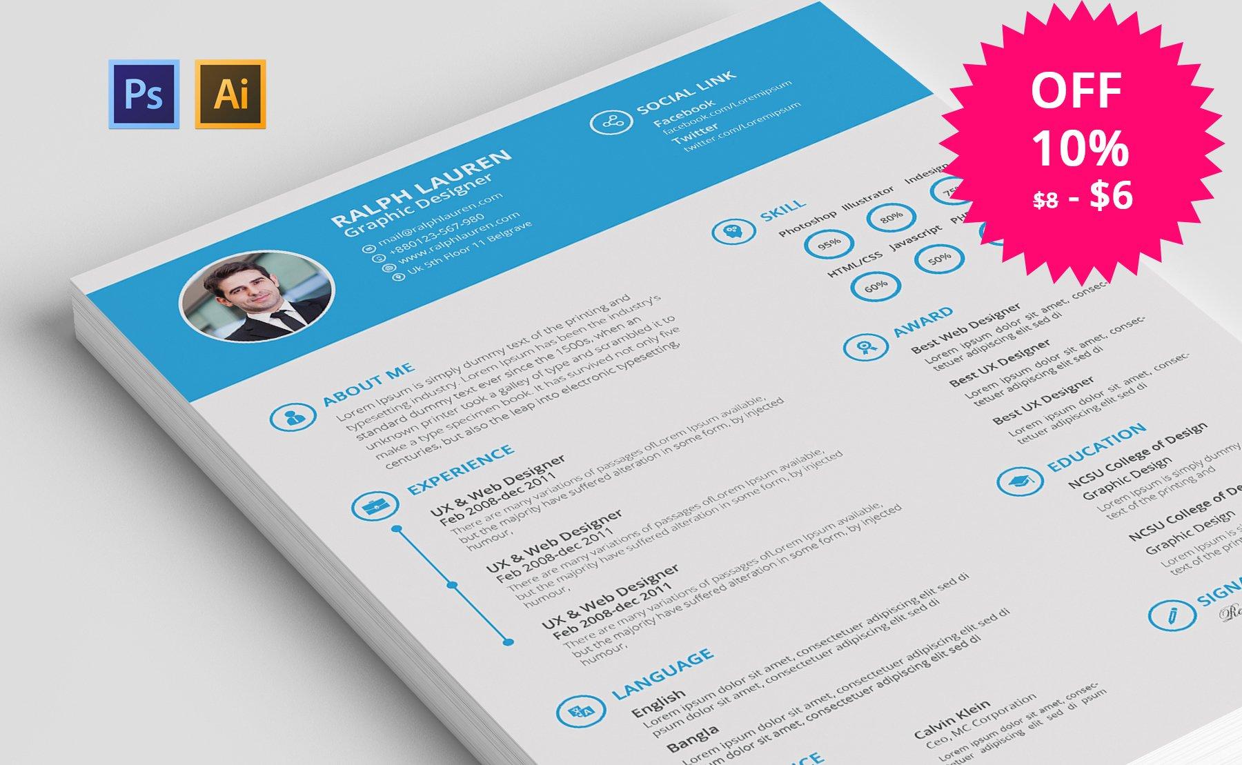 awesome resumecv resume templates creative market