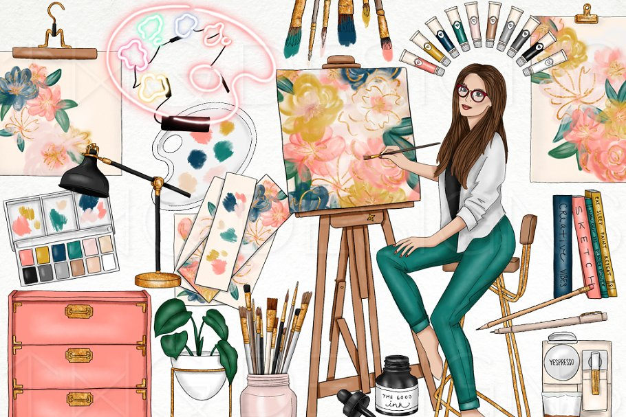 Art Studio Fashion Girl Clip Art