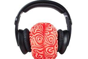 Human brain rubber with headphones