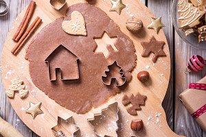 Baking christmas gingerbread cookies