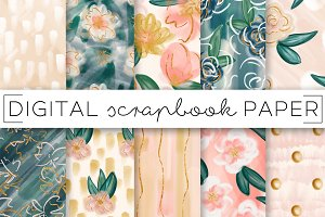 Painterly Florals and Foil Paper Set