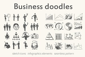 Business doodle elements and pattern