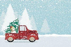 Christmas tree and snowman on car