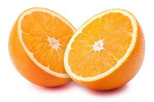 Halves of orange isolated