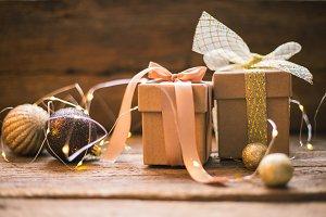 Christmas gift box with decoration o