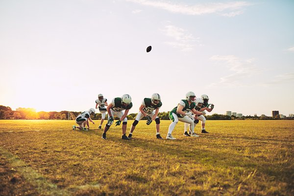 Sports Stock Photos: Stefan & Janni - American football team practicing pl