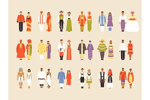 Big vector set of national costumes,