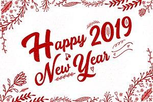 Happy New Year 2019 Vector Drawn