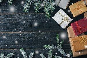 Christmas Gift box on dark wooden ta