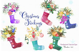 Watercolor Christmas Stocking