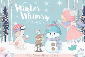 WinterWhimsy Cute Clipart Collection