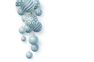 3d Christmas blue balls with