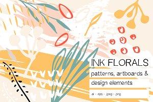 Ink Florals patterns design elements